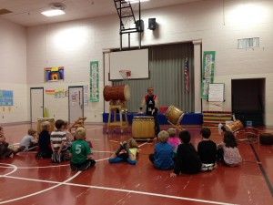 Stuart Paton of Burlington Taiko during a lecture and demonstration at Maple Avenue School.