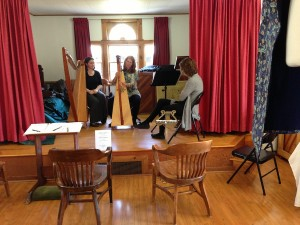 Angela Biggs teaches a harp workshop during NH Opendoors