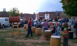 Stuart Paton of Burlington Taiko Group leads a workshop at the Claremont Farmers' and Artisans' Market in September.