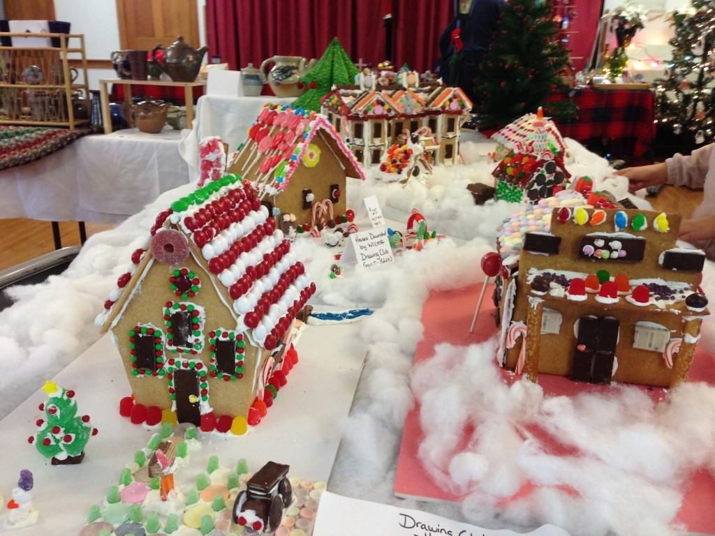 Members of the Drawing Club decorated Gingerbread Houses made by Union Church. The Houses were on display at WCCMA's Baking Competition, Stone Arch Bakery, and will be at the Claremont First Night Celebration at the CSB Community Center.
