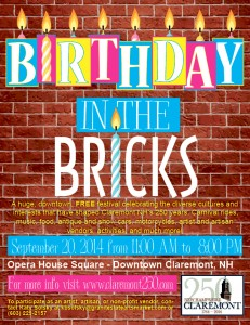 Birthday in the Bricks Festival @ Downtown Claremont | Claremont | New Hampshire | United States