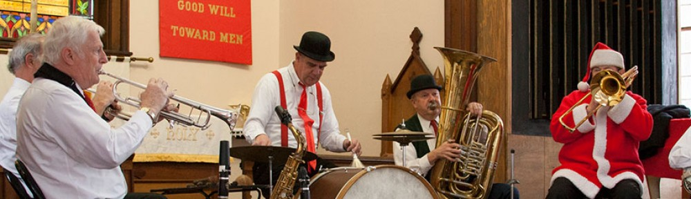 The Firehouse Six perform dixieland and holiday favorites annually the Sunday before Christmas.